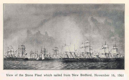 View of the Stone Fleet which sailed from New Bedford, November 16, 1861 Spears, John R. (1922) Story of the New England Whalers, New York City, NY: MacMillan Company - The Stone Fleet and Skull Creek - Hilton Head Island
