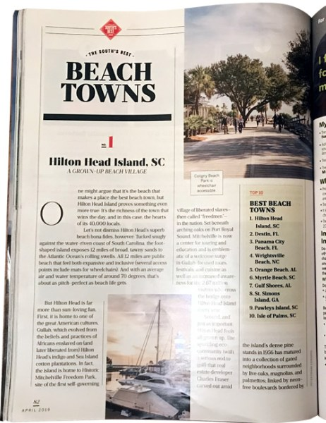 Hilton Head Island, SC, No. 1 of the South's Best Beach Towns Southern Living April 2019 The South's Best Issue