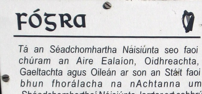 Warning Sign in Gaelic