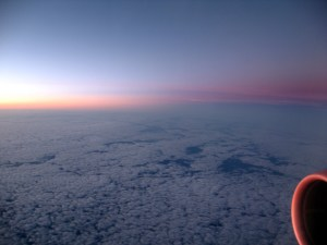 We flew into the sunrise. Delta business class to Ireland