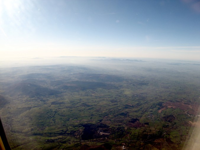 Flying over the mountains, Delta business class to Ireland
