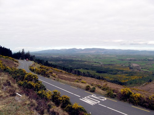 The Vee, R668, Knockmealdown Mountains, Ireland, with the view of the Golden Vale