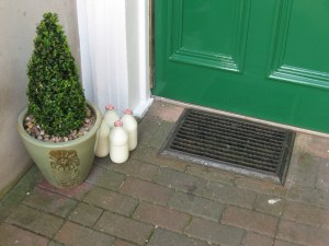 Fresh milk is delivered every morning