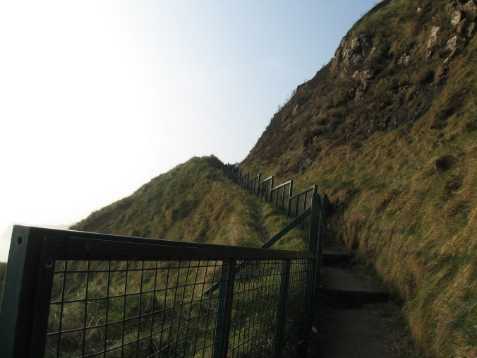 Cliff path to Kinbane Headland where Kinbane Castle can be seen