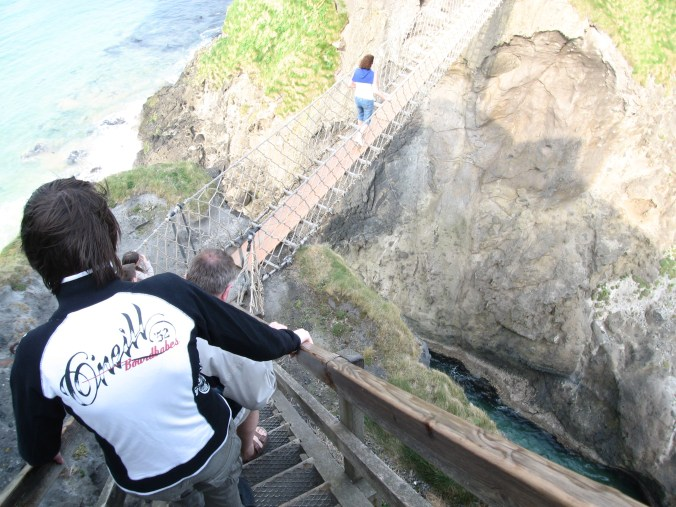 A woman got to the middle of Carrick-a-Rede Rope Bridge and completely freaked out. They had to pry her hands off the ropes to carry and drag her back.