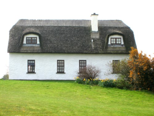 Thatched roofs on Dunguaire Haven Holiday Rentals, Dungory West, Kinvara, Co. Galway, Ireland
