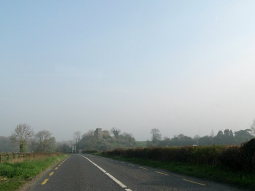 Castle in the distance driving through Ireland