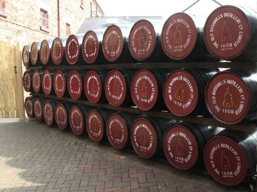 Barrels of Old Bushmills Whiskey at the Distillery, County Antrim, Northern Ireland