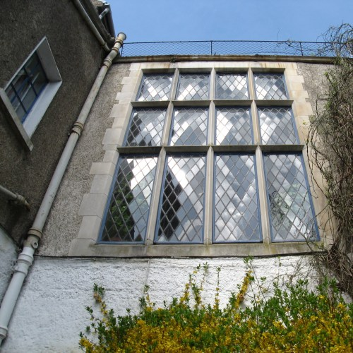 The diamond panes in the Main Staircase window of Leixlip Castle