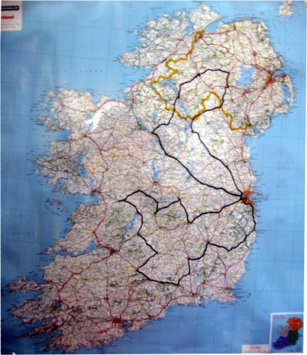 The delivery routes for literature delivery in Ireland