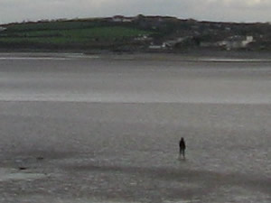 See the man walking in the water? It is very shallow when the tide is out at The Skerries.