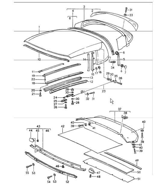 Roof Diagram Parts & Convertible Top Covering Seal Single