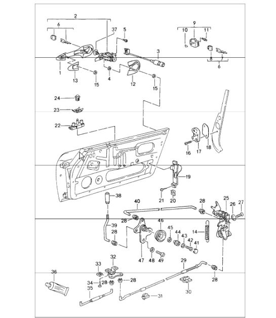 Porsche 944 Door Handle Diagram. Porsche. Auto Parts
