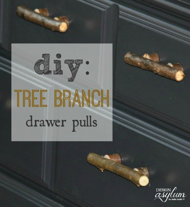 It's easy to make your own furniture handles from tree branches. And sometimes, that is the perfect addition to a painted piece of furniture.