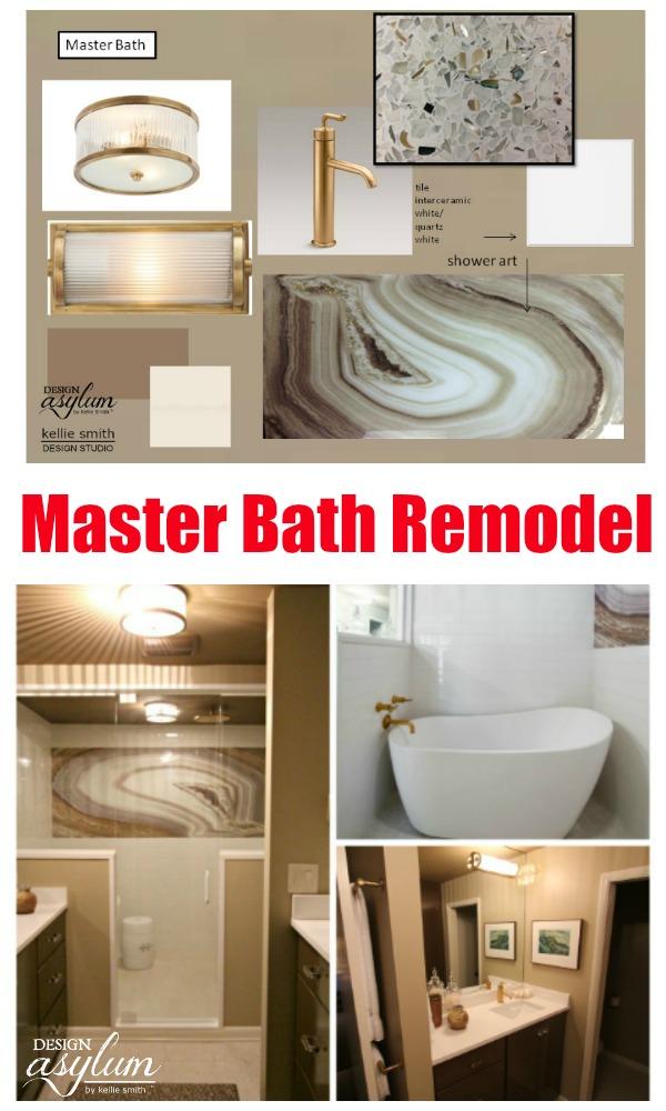 Take a look at this amazing Master Bath Remodel - complete with custom shower art! Master Bathroom of Interior Designer Kellie Smith, Design Asylum Blog.