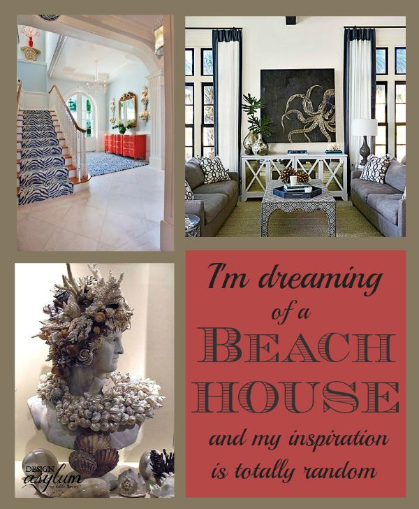I've been designing my imaginary beach house and my inpirations are totally random! From dark accents to cool palettes and seashells. Lots of seashells.