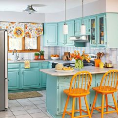 Colorful Kitchen Cabinets Marble Top Cart 21 Kitchens That Will Have You Repainting Your With Velvet Finishes This Weekend
