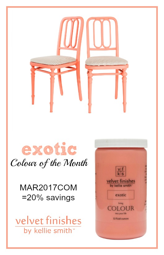 The March Velvet Finishes Colour of the Month is Exotic. Alluring and mysterious, Exotic is a dazzling shade of coral. Use code MAR2017COM for 20% savings.