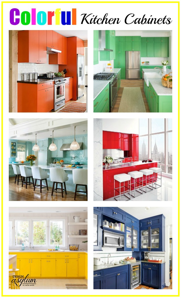Thinking of painting your kitchen cabinets? Here are colorful kitchens guaranteed to make you swoon and kitchen cabinet colours that are perfect colours. <a style=
