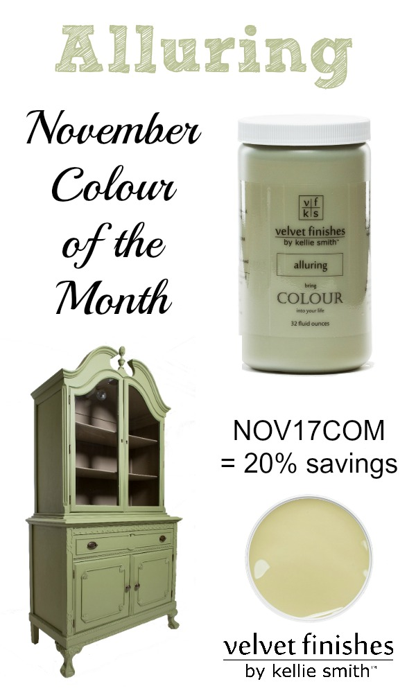 The Velvet Finishes November Colour of the Month is Alluring. Use code NOV17COM at checkout to receive 20% savings! Green furniture paint and design inspirationas!