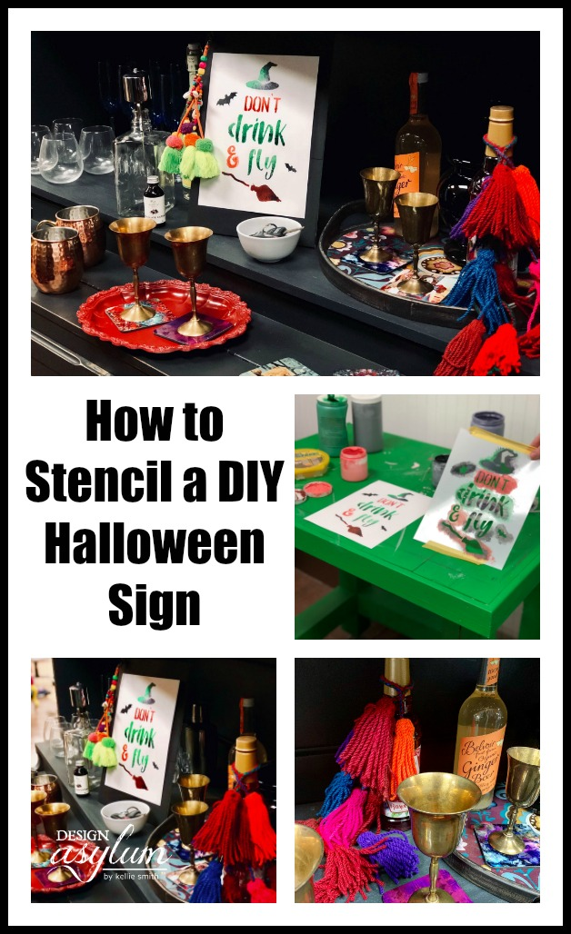 How to Use Stencils to create a DIY Halloween Sign! Follow this tutorial to see how to stencil a Halloween sign, perfect for a Halloween party.