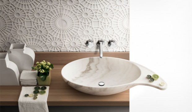 Lavabo Cashmere in marmo by Kreoo
