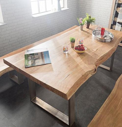 tavolo da pranzo top massello gambe in metallo