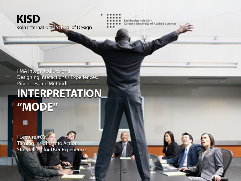 "Designing Interactions / Experiences: Interpretation ""Mode"""