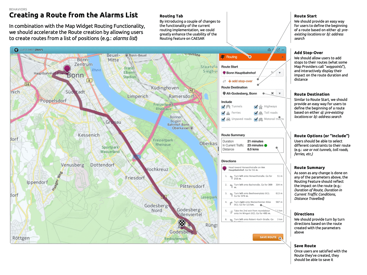 Creating a Route from the Alarms List: ROUTING TAB