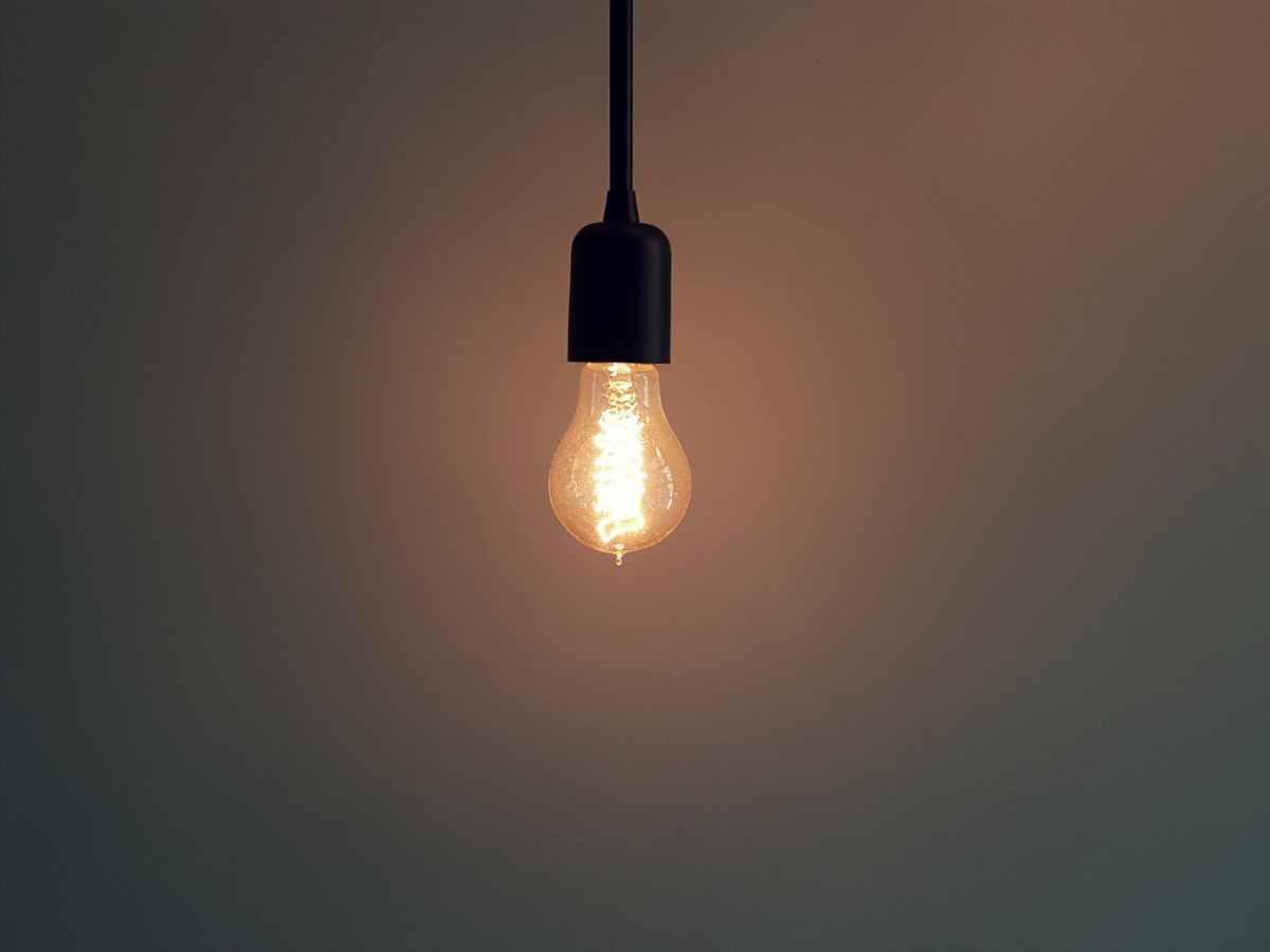 turned on pendant lamp