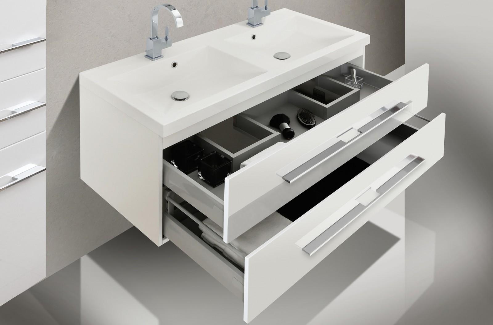 Badezimmermbel Set mit Waschbecken und Spiegelschank 120 cm  designbaedercom