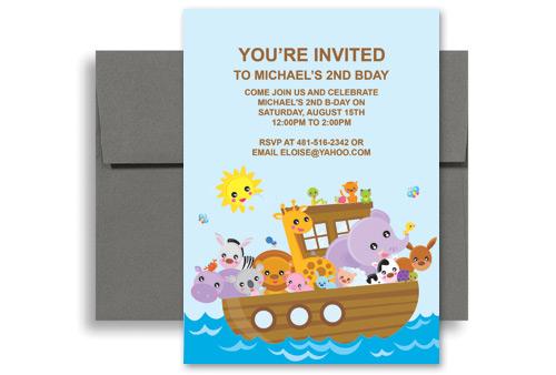 Cartoon Animals Boat Ride Birthday Invitation Examples 5x7