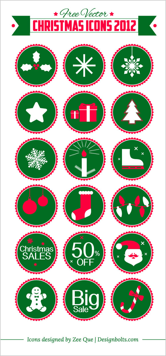 Free Vector Christmas Icons 2012 Designbolts