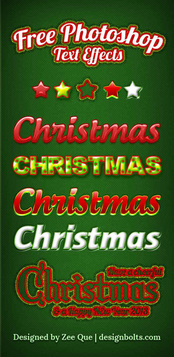 5 Free Beautiful Christmas Photoshop Text Effects Styles