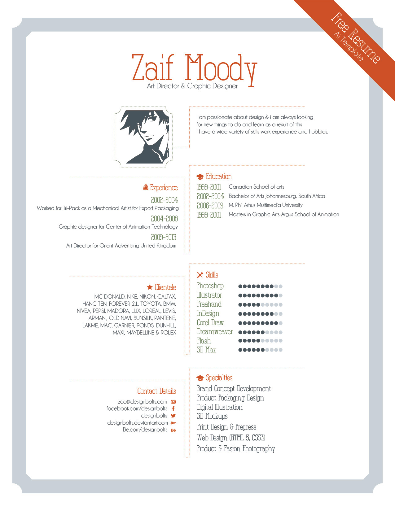 Free Resume Template For Graphic Designers Illustrator Ai & EPS File