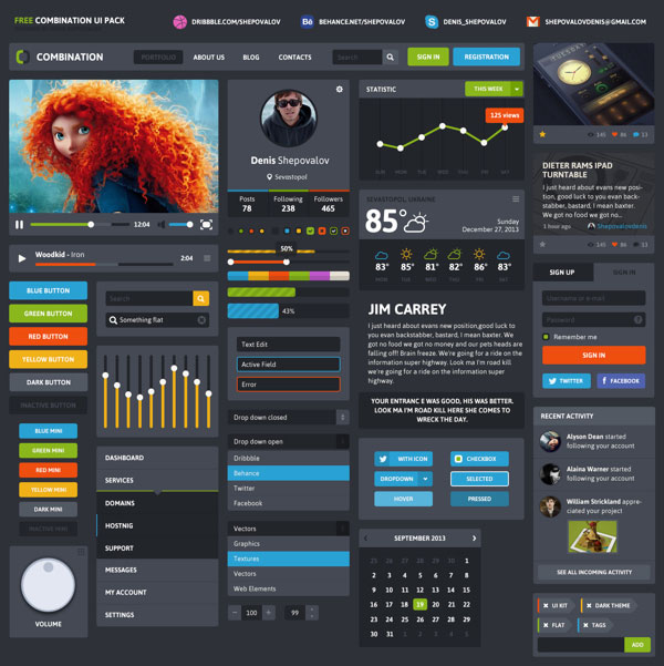20 Free Best Web Ui Elements  Mobile GUI Design Kits of 2014  Designbolts
