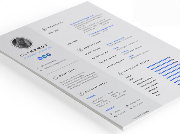 cv resume templates indesign