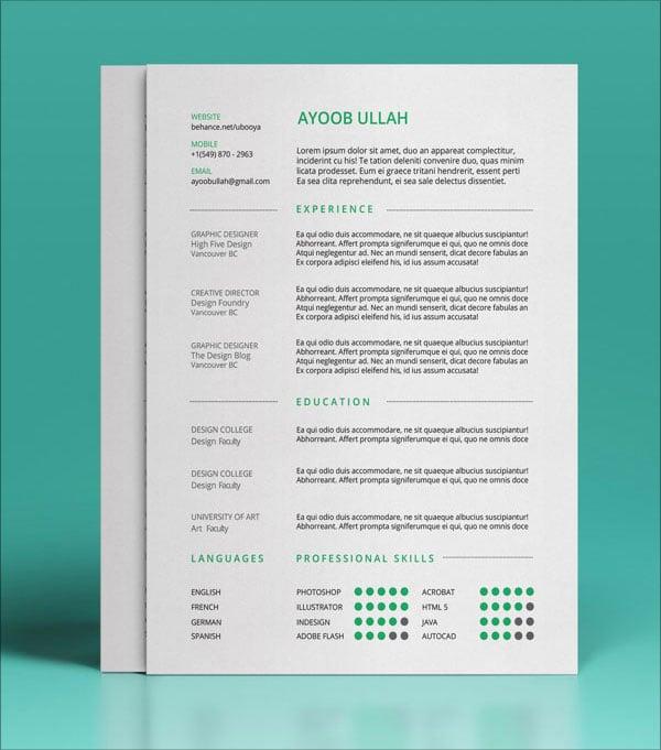 free psd cv resume template