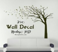 Free Vinyl Sticker / Wall Decal Mockup PSD