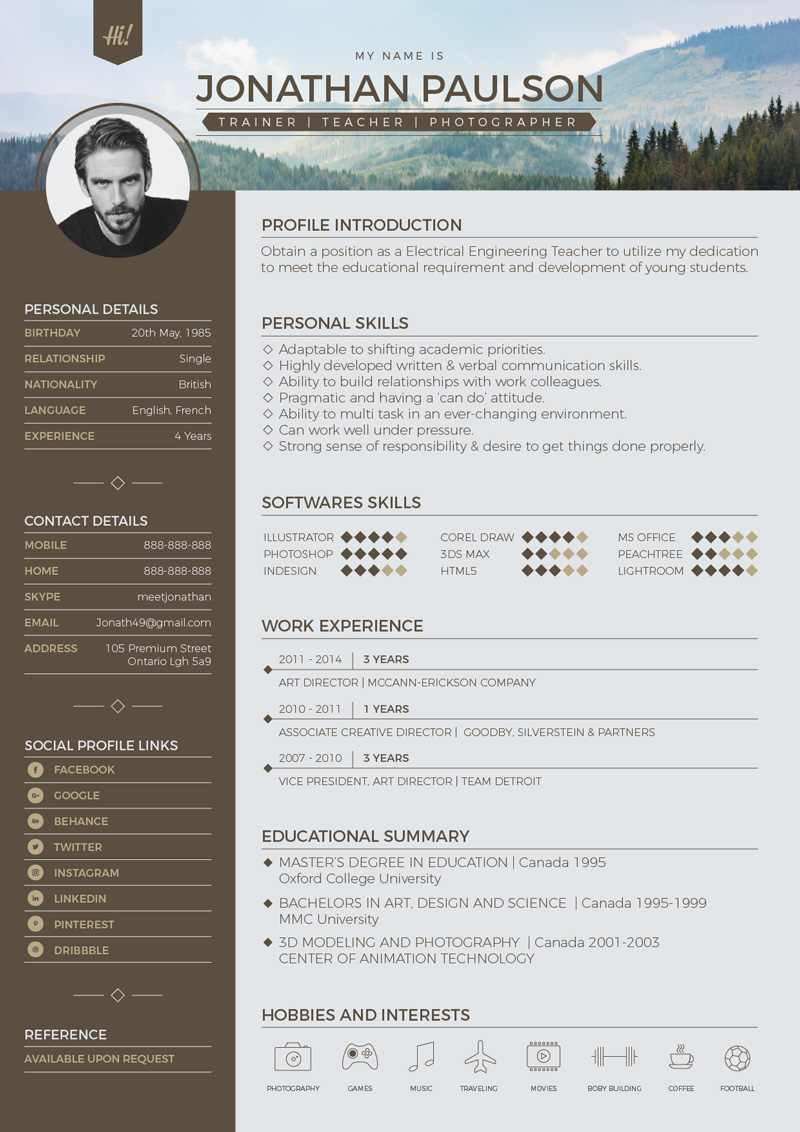 Free Professional Modern Resume CV Portfolio Page