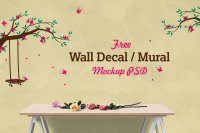 Free Vinyl Wall Decal / Mural Sticker Art Mockup PSD