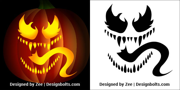 5 Venom Pumpkin Carving Stencils Printable Patterns Ideas For Halloween 2018