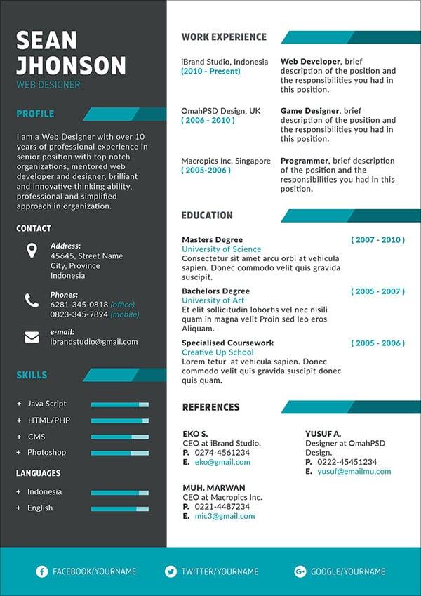 resume template game designer