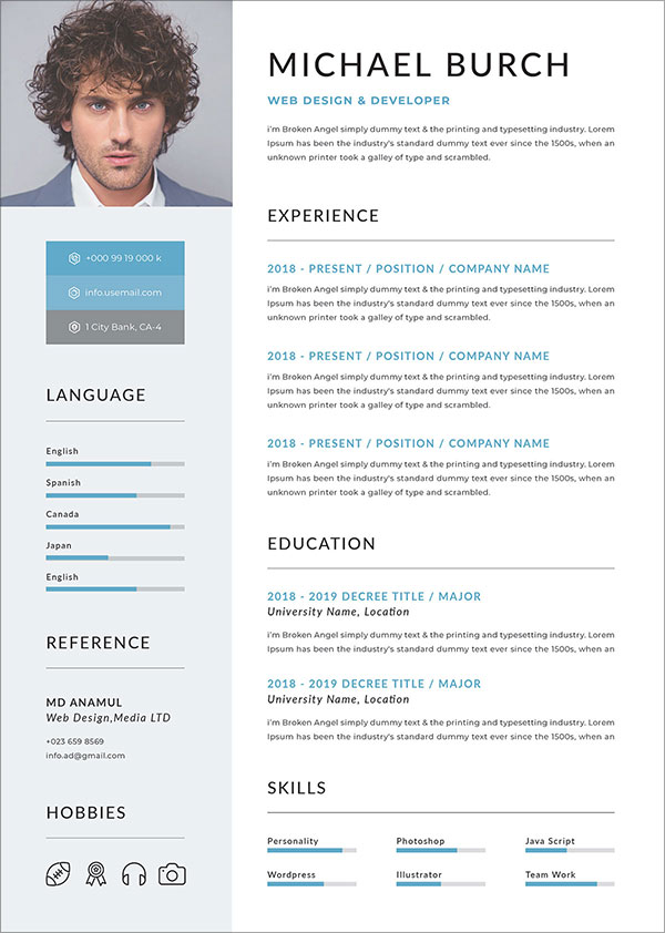 50 Free Resume/ CV Template In PSD. Ai. Word. INDD. Sketch & XD For Graphic & Web Designers – Designbolts