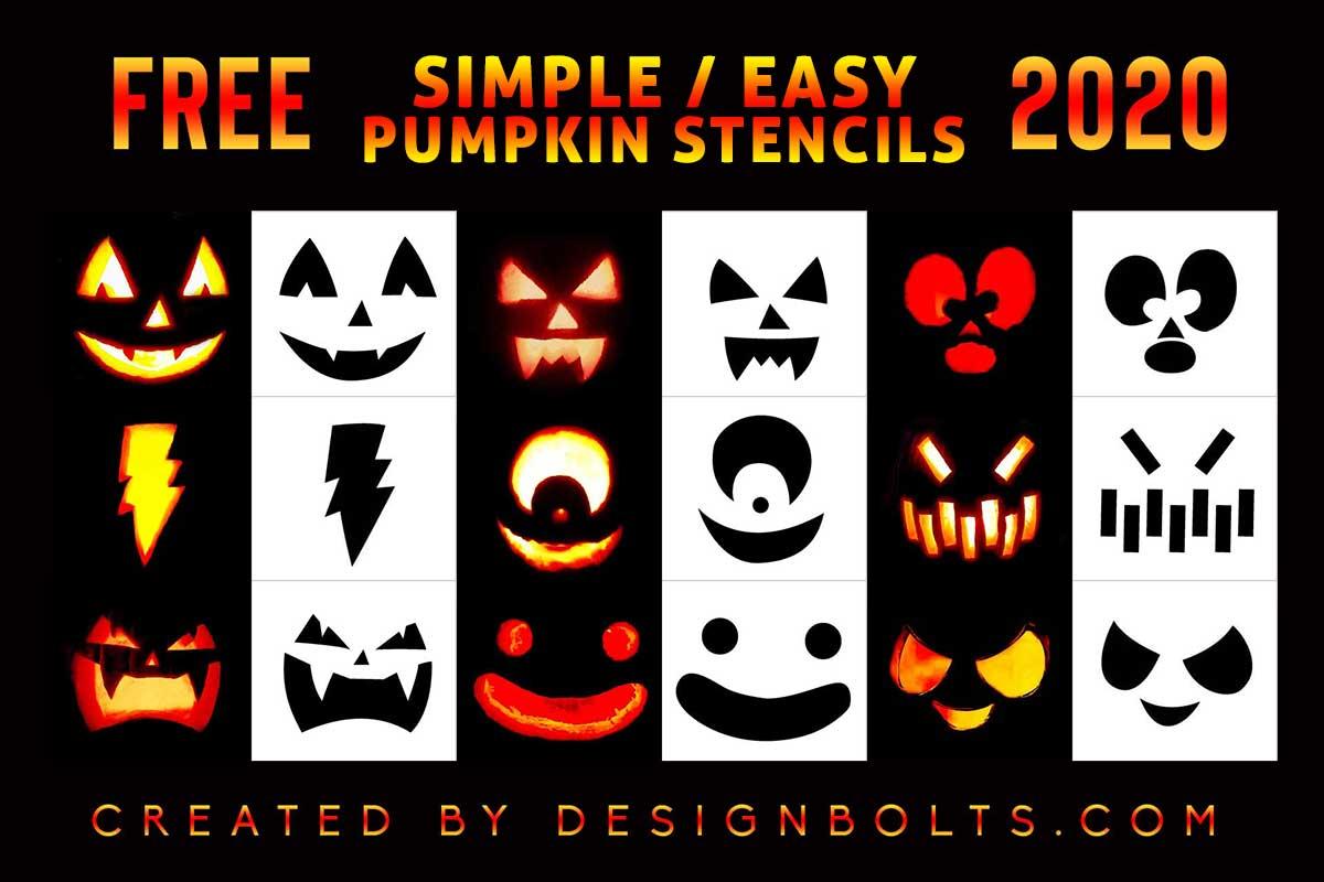 10 Simple Easy Pumpkin Carving Stencils Templates