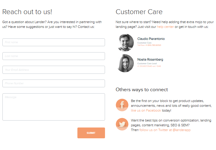 Lander-Contact-Page-Example How to Create a Compelling Contact Page