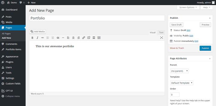 createportfoliopage How to Create a Portfolio Site Using Advanced Custom Fields