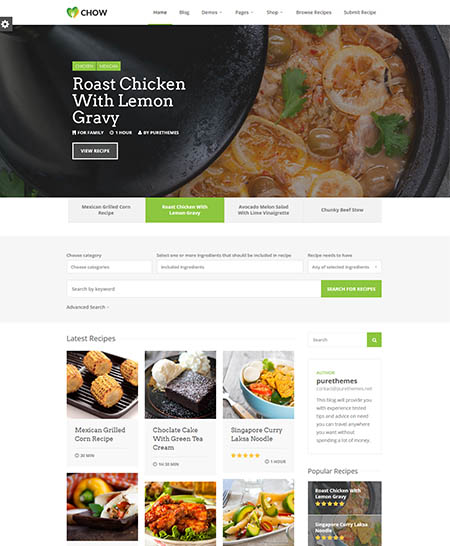 chow-wordpress-theme-1 13 Best Food Themes for Sharing Recipes