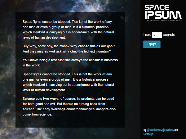 space-ipsum 20 Plain & Hysterical Lorem Ipsum Generators