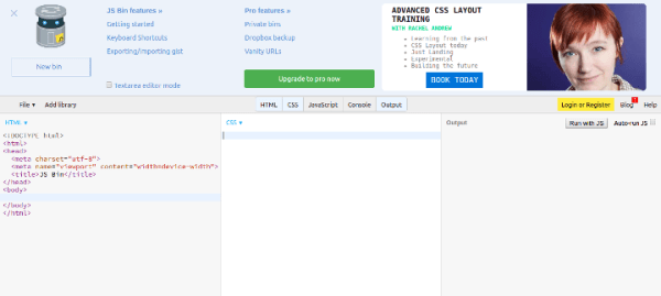 js-bin 15 Useful Code Sharing Websites for Web Developers